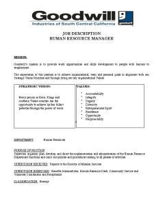 JOB DESCRIPTION HUMAN RESOURCE MANAGER