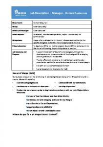 Job Description Manager - Human Resources