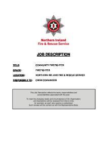 JOB DESCRIPTION NORTHERN IRELAND FIRE & RESCUE SERVICE