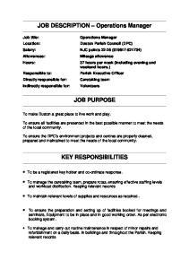 JOB DESCRIPTION Operations Manager