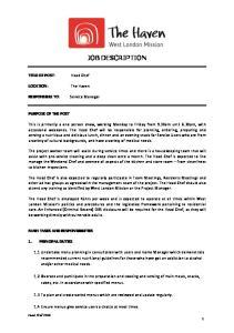 JOB DESCRIPTION PURPOSE OF THE POST