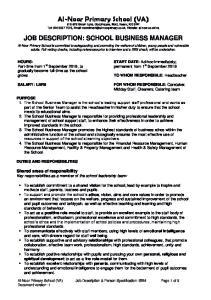 JOB DESCRIPTION: SCHOOL BUSINESS MANAGER
