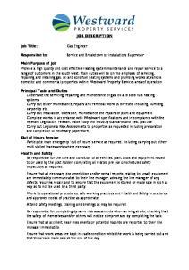 JOB DESCRIPTION. Service and Breakdown or Installations Supervisor