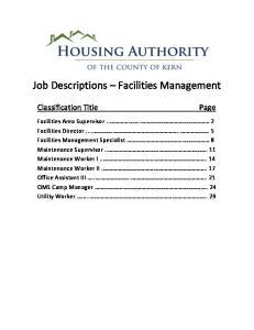 Job Descriptions Facilities Management