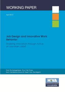 Job Design and Innovative Work Behavior