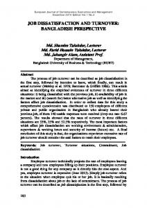 JOB DISSATISFACTION AND TURNOVER: BANGLADESH PERSPECTIVE