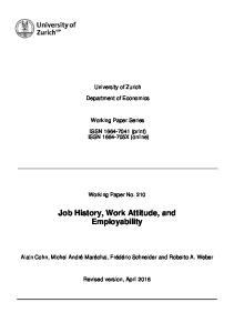 Job History, Work Attitude, and Employability