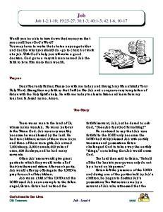 Job Job 1-2:1-10; 19:25-27; 38:1-3; 40:1-5; 42:1-6, 10-17
