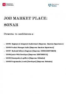 JOB MARKET PLACE: SONAR