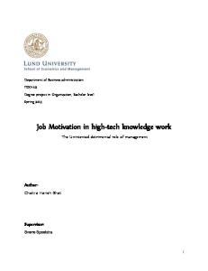 Job Motivation in high-tech knowledge work