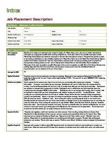 Job Placement Description