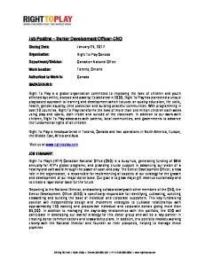 Job Posting Senior Development Officer- CNO
