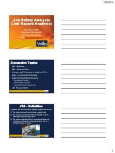 Job Safety Analysis (Job Hazard Analysis)