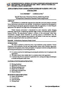 JOB SATISFACTION AMONG EMPLOYEES OF PATSPIN I PVT LTD UDUMALPET