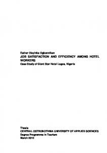 JOB SATISFACTION AND EFFICIENCY AMONG HOTEL WORKERS