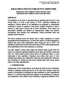 JOB SATISFACTION FACTORS OF PTCL EMPLOYEES