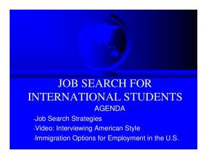 JOB SEARCH FOR INTERNATIONAL STUDENTS AGENDA