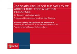 JOB SEARCH SKILLS FOR THE FACULTY OF