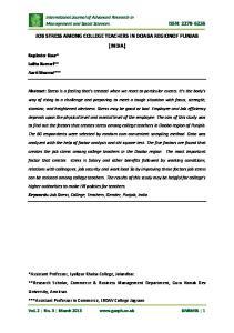 JOB STRESS AMONG COLLEGE TEACHERS IN DOABA REGIONOF PUNJAB (INDIA)
