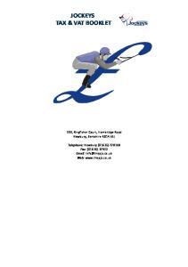 JOCKEYS TAX & VAT BOOKLET