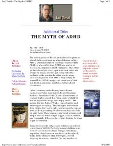 Joel Turtel -- The Myth of ADHD. Additional Titles THE MYTH OF ADHD