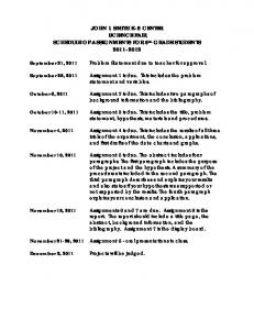JOHN I. SMITH K-8 CENTER SCIENCE FAIR SCHEDULE OF ASSIGNMENTS FOR 6 th GRADE STUDENTS