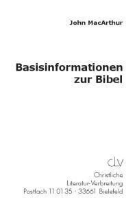John MacArthur Basisinformationen zur Bibel