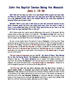 John the Baptist Denies Being the Messiah