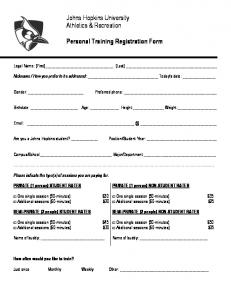 Johns Hopkins University Athletics & Recreation. Personal Training Registration Form