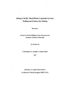 Joining of AI-B 4 C Metal Matrix Composites by Laser Welding and Friction Stir Welding