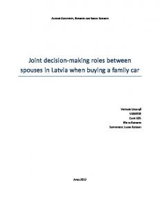 Joint decision-making roles between spouses in Latvia when buying a family car