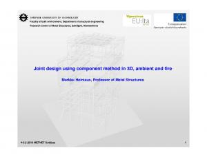 Joint design using component method in 3D, ambient and fire