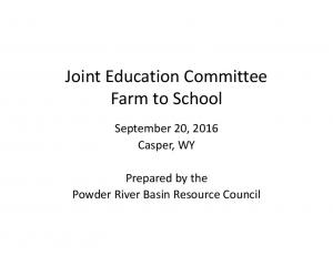 Joint Education Committee Farm to School