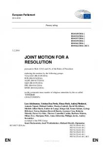 JOINT MOTION FOR A RESOLUTION