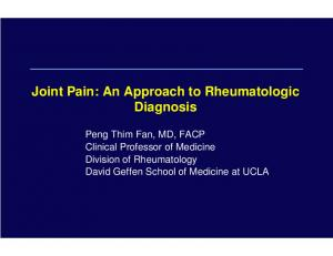 Joint Pain: An Approach to Rheumatologic Diagnosis