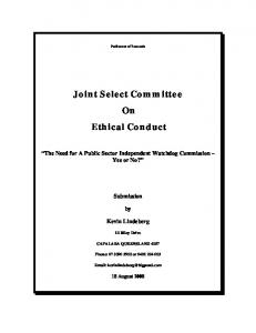 Joint Select Committee On Ethical Conduct