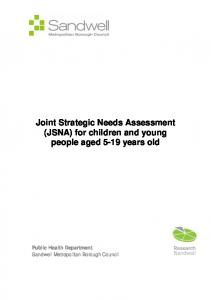 Joint Strategic Needs Assessment (JSNA) for children and young people aged 5-19 years old