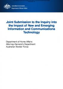 Joint Submission to the Inquiry into the Impact of New and Emerging Information and Communications Technology