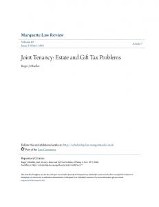 Joint Tenancy: Estate and Gift Tax Problems