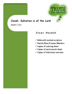 Jonah: Salvation is of the Lord