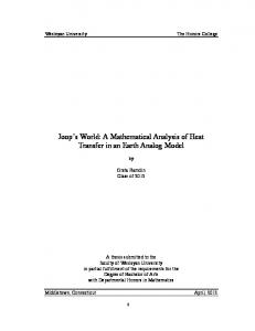 Joop s World: A Mathematical Analysis of Heat Transfer in an Earth Analog Model