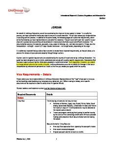 JORDAN. Visa Requirements Details. Required Documents. Visitors. International Shipment & Customs Regulations and Information for Jordan