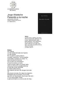 Jorge Arbeleche Parecido a la noche EDICIONES VITRUVIO Colección Baños del Carmen, nº4, Madrid 2013