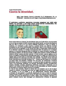 Jorge Orlando Melo. Contra la identidad