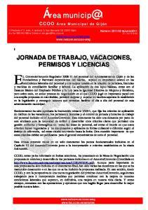 JORNADA DE TRABAJO, VACACIONES, PERMISOS Y LICENCIAS