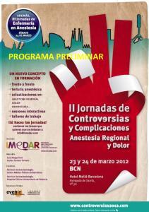 JORNADAS DE CONTROVERSIAS Y COMPLICACIONES EN ANESTESIA REGIONAL Y DOLOR