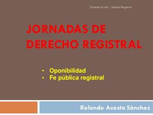 JORNADAS DE DERECHO REGISTRAL