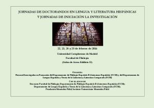 JORNADAS DE DOCTORANDOS EN LENGUA Y LITERATURA HISPÁNICAS V JORNADAS DE INICIACIÓN LA INVESTIGACIÓN