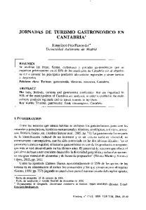 JORNADAS DE TURISMO GASTRONOMICO EN CANTABRIA*