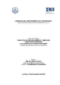 JORNADAS DEL DEPARTAMENTO DE CONTABILIDAD FACULTAD DE CIENCIAS ECONÓMICAS U.N.L.P